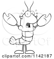 Cartoon Clipart Of A Black And White Scared Lobster Or Crawdad Mascot Character Vector Outlined Coloring Page