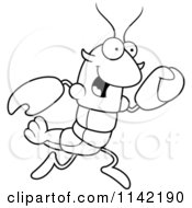 Cartoon Clipart Of A Black And White Running Lobster Or Crawdad Mascot Character Vector Outlined Coloring Page