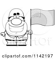 Cartoon Clipart Of A Black And White Male Army Soldier With An American Flag Vector Outlined Coloring Page