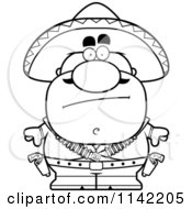 Cartoon Clipart Of A Black And White Calm Bandit Vector Outlined Coloring Page by Cory Thoman