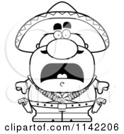 Cartoon Clipart Of A Black And White Scared Bandit Vector Outlined Coloring Page by Cory Thoman