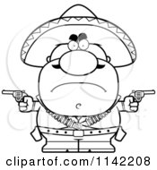 Cartoon Clipart Of A Black And White Angry Hispanic Bandit Vector Outlined Coloring Page by Cory Thoman