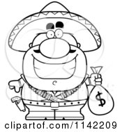 Cartoon Clipart Of A Black And White Hispanic Bandit Holding A Money Bag Vector Outlined Coloring Page