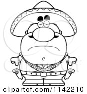 Cartoon Clipart Of A Black And White Depressed Hispanic Bandit Vector Outlined Coloring Page by Cory Thoman