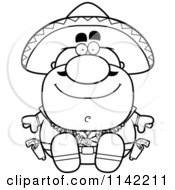 Cartoon Clipart Of A Black And White Sitting Hispanic Bandit Vector Outlined Coloring Page by Cory Thoman