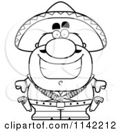 Cartoon Clipart Of A Black And White Happy Hispanic Bandit Vector Outlined Coloring Page by Cory Thoman