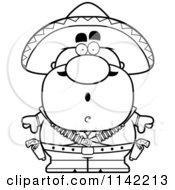 Cartoon Clipart Of A Black And White Surprised Hispanic Bandit Vector Outlined Coloring Page by Cory Thoman