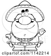 Cartoon Clipart Of A Black And White Waving Hispanic Bandit Vector Outlined Coloring Page by Cory Thoman