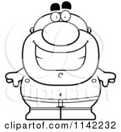 Cartoon Clipart Of A Black And White Happy Pudgy Male Swimmer Vector Outlined Coloring Page