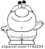 Cartoon Clipart Of A Black And White Waving Pudgy Male Swimmer Vector Outlined Coloring Page