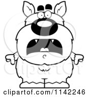 Cartoon Clipart Of A Black And White Scared Pudgy Werewolf Vector Outlined Coloring Page