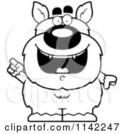 Cartoon Clipart Of A Black And White Pudgy Werewolf With An IDea Vector Outlined Coloring Page