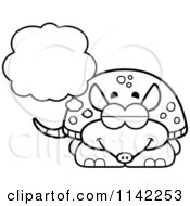 Cartoon Clipart Of A Black And White Dreaming Armadillo Vector Outlined Coloring Page
