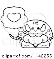 Cartoon Clipart Of A Black And White Armadillo In Love Vector Outlined Coloring Page by Cory Thoman