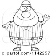Cartoon Clipart Of A Black And White Waving Male Baseball Player Vector Outlined Coloring Page