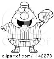 Cartoon Clipart Of A Black And White Male Baseball Player Catching A Ball Vector Outlined Coloring Page