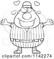 Cartoon Clipart Of A Black And White Amorous Male Baseball Player Vector Outlined Coloring Page