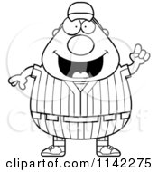 Cartoon Clipart Of A Black And White Male Baseball Player With An Idea Vector Outlined Coloring Page