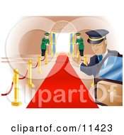 Limo Driver Holding Open A Car Door Upon A Scene Of A Red Carpet Leading To Doormen Holding Open Double Doors Clipart Illustration