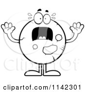 Cartoon Clipart Of A Black And White Planet Mars Panicking Vector Outlined Coloring Page