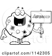 Cartoon Clipart Of A Black And White Asteroid Holding A Sign Vector Outlined Coloring Page by Cory Thoman