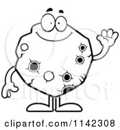 Cartoon Clipart Of A Black And White Waving Asteroid Vector Outlined Coloring Page by Cory Thoman