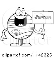 Cartoon Clipart Of A Black And White Planet Jupiter Holding A Sign Vector Outlined Coloring Page by Cory Thoman