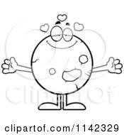 Cartoon Clipart Of A Black And White Loving Planet Mars Vector Outlined Coloring Page by Cory Thoman