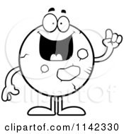 Cartoon Clipart Of A Black And White Planet Mars With An Idea Vector Outlined Coloring Page by Cory Thoman