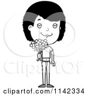 Cartoon Clipart Of A Black And White Clipart Adolescent Teenage Girl Holding Out Flowers Vector Outlined Coloring Page