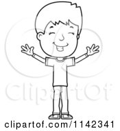Cartoon Clipart Of A Black And White Happy Adolescent Teenage Boy With Open Arms Vector Outlined Coloring Page