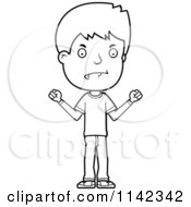 Cartoon Clipart Of A Black And White Mad Adolescent Teenage Boy Vector Outlined Coloring Page