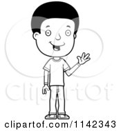 Cartoon Clipart Of A Black And White Friendly Adolescent Teenage Boy Waving Vector Outlined Coloring Page