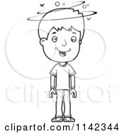 Cartoon Clipart Of A Black And White Drunk Adolescent Teenage Boy Vector Outlined Coloring Page