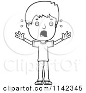 Cartoon Clipart Of A Black And White Stressed Adolescent Teenage Boy Vector Outlined Coloring Page