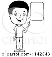 Cartoon Clipart Of A Black And White Adolescent Teenage Boy Talking Vector Outlined Coloring Page
