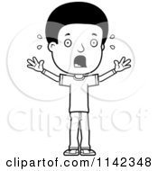 Cartoon Clipart Of A Black And White Scared Adolescent Teenage Boy Vector Outlined Coloring Page