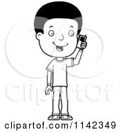 Cartoon Clipart Of A Black And White Adolescent Teenage Boy Talking On A Cell Phone Vector Outlined Coloring Page