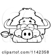 Cartoon Clipart Of A Black And White Depressed Yak Vector Outlined Coloring Page