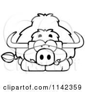 Cartoon Clipart Of A Black And White Sick Yak Vector Outlined Coloring Page