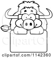 Cartoon Clipart Of A Black And White Happy Yak Over A Sign Vector Outlined Coloring Page