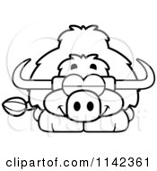 Cartoon Clipart Of A Black And White Sleeping Yak Vector Outlined Coloring Page