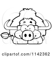 Cartoon Clipart Of A Black And White Happy Yak Vector Outlined Coloring Page by Cory Thoman