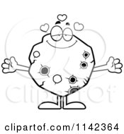 Cartoon Clipart Of A Black And White Loving Asteroid Vector Outlined Coloring Page by Cory Thoman