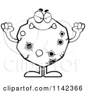 Cartoon Clipart Of A Black And White Mad Asteroid Vector Outlined Coloring Page by Cory Thoman