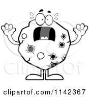 Cartoon Clipart Of A Black And White Scared Asteroid Vector Outlined Coloring Page by Cory Thoman
