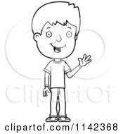 Cartoon Clipart Of A Black And White Adolescent Teenage Boy Waving Vector Outlined Coloring Page