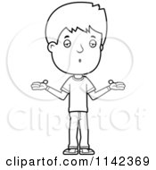Cartoon Clipart Of A Black And White Adolescent Teenage Boy Shrugging Vector Outlined Coloring Page