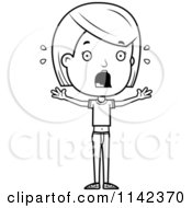 Cartoon Clipart Of A Black And White Scared Adolescent Teenage Girl Vector Outlined Coloring Page