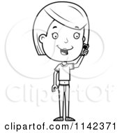 Cartoon Clipart Of A Black And White Adolescent Teenage Girl Talking On A Cell Phone Vector Outlined Coloring Page
